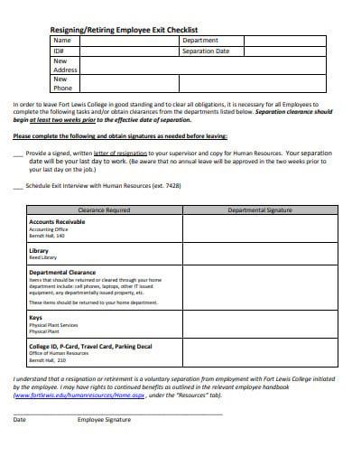 resigning employee exit checklist