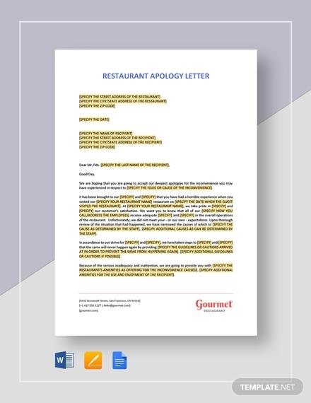 restaurant apology letter 2
