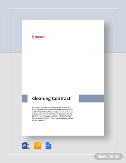 restaurant cleaning contract template1