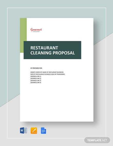 restaurant cleaning service proposal layout