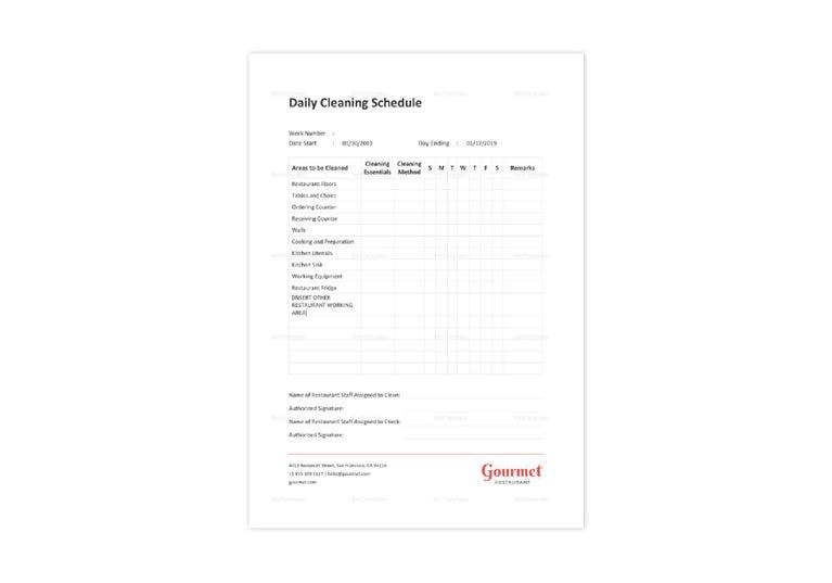 restaurant daily cleaning schedule template
