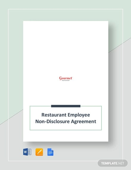 restaurant employee non disclosure agreement template