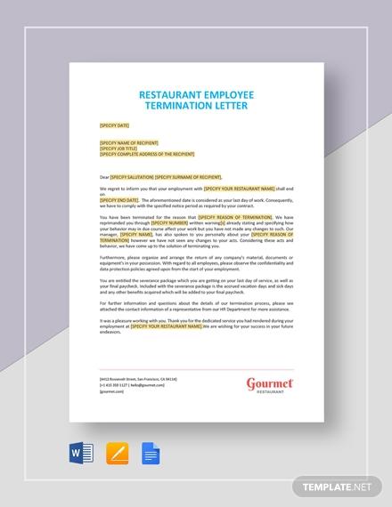 restaurant employee termination letter