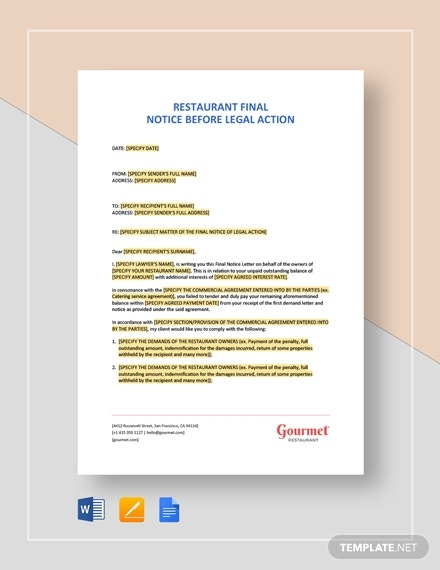 restaurant final notice before legal action