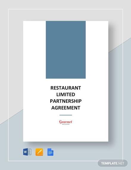 restaurant limited partnership agreement template