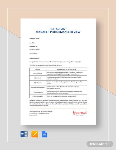 restaurant manager performance review template