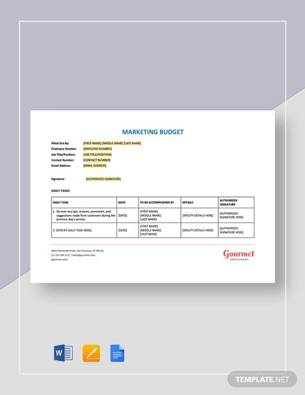 restaurant marketing budget report format