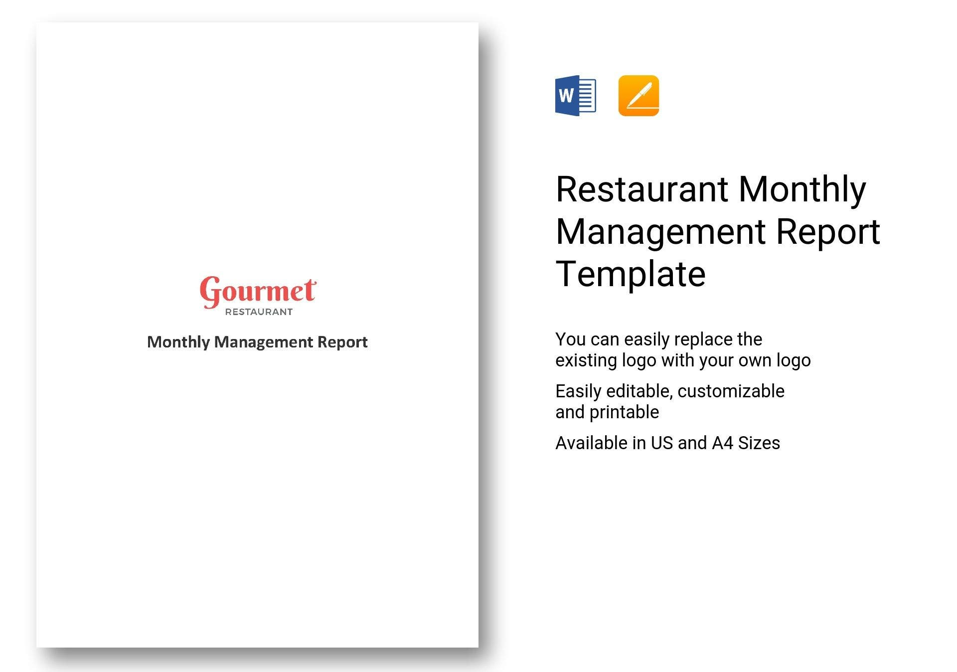 restaurant monthly management report template