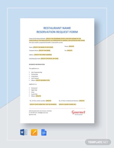restaurant name reservation request form template1