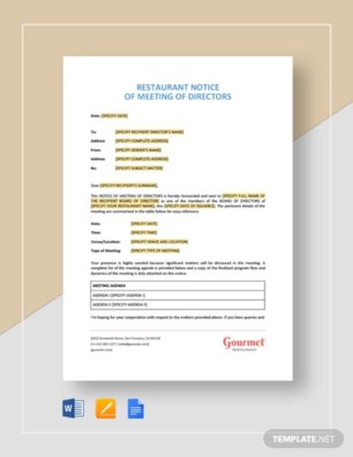 restaurant notice of meeting of directors