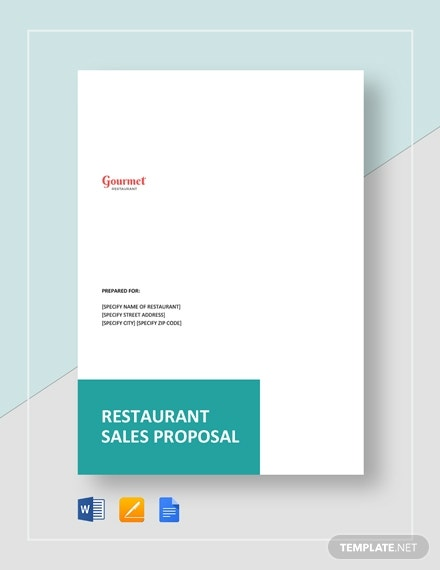 restaurant product sales proposal layout