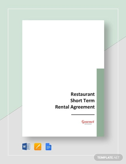 restaurant short term rental agreement template