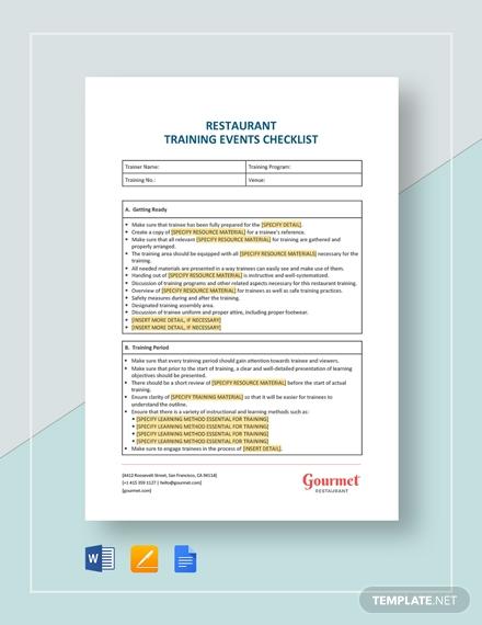 restaurant training events checklist