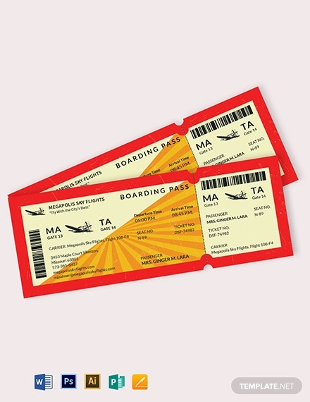 retro boarding pass airline ticket template