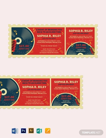 retro concert ticket template