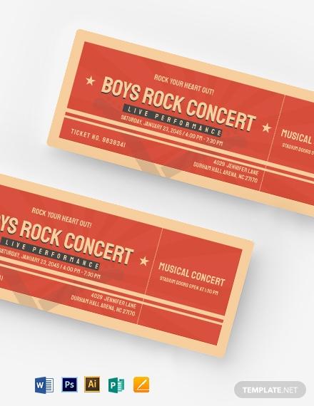 retro event ticket template