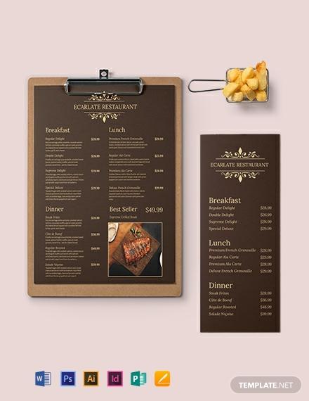 retro french menu template1