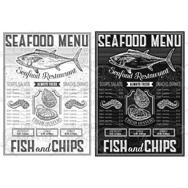 retro seafood menu template