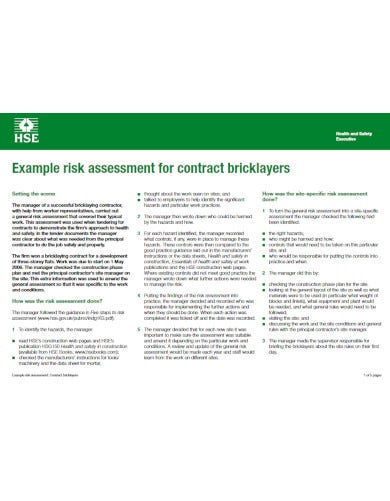 risk assessment for bricklayers example