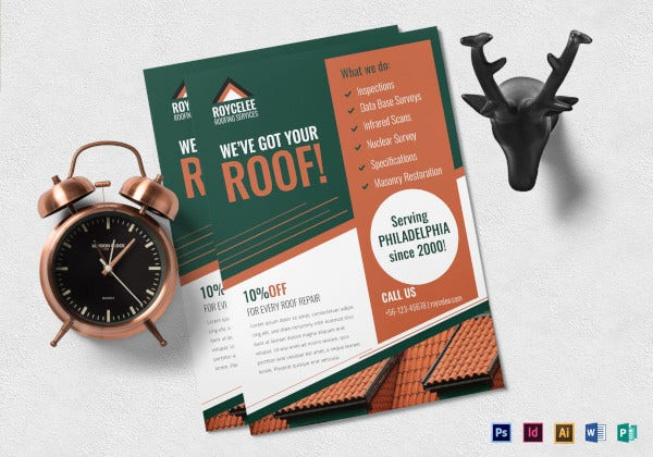 roofing construction flyer template