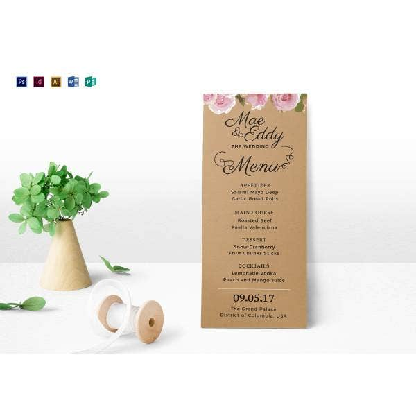 rustic wedding menu