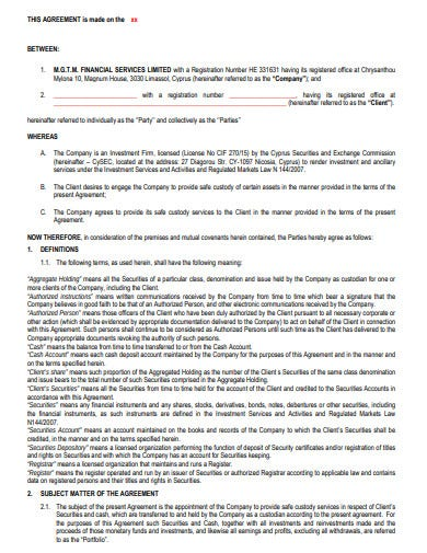 safe custody agreement template
