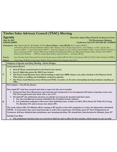 sales advisory meeting agenda