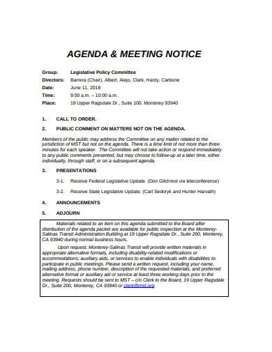 sales agenda and meeting notice template