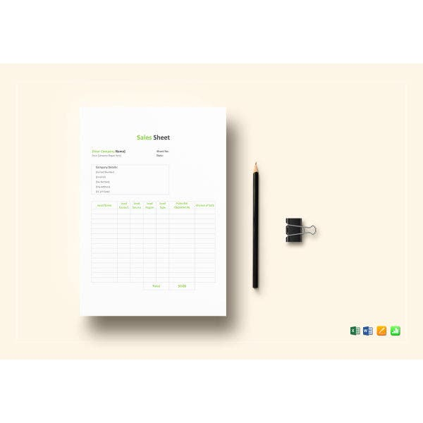 sales sheet template1