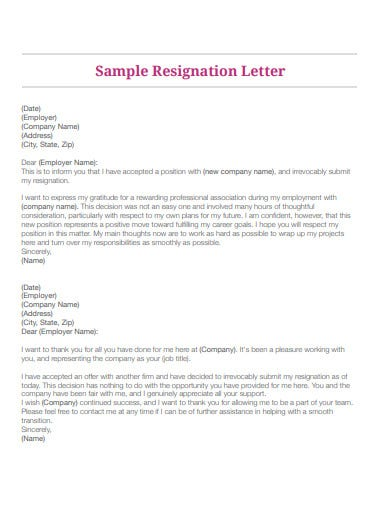 sample acceptance of resignation letter example