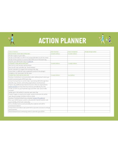 sample action planner template