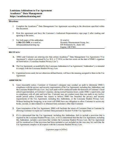 sample addendum agreement example
