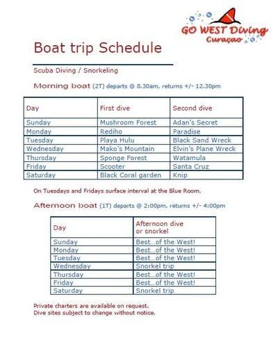sample boat trip schedule