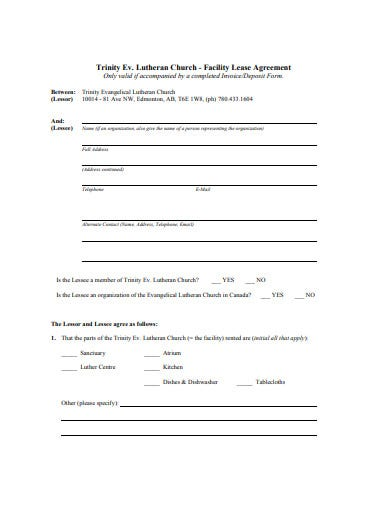 sample church lease agreement example