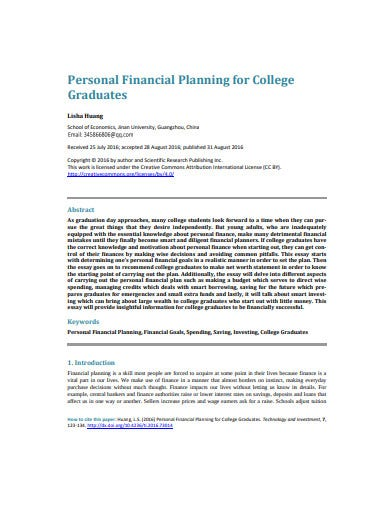 sample college financial plan example