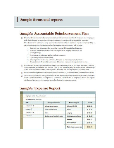 sample company expense report template