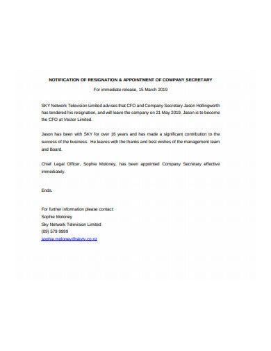 sample company secretary resignation