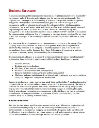 sample company structure in pdf