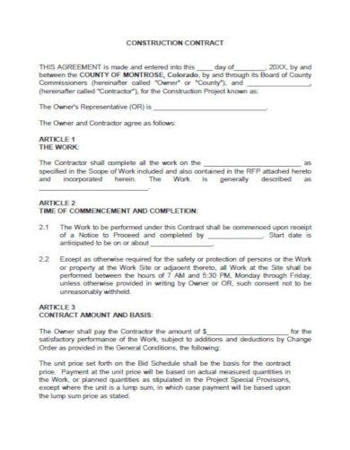 sample construction order contract template
