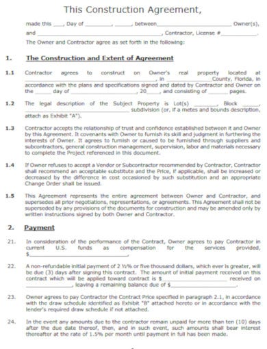 sample construction and extension agreement