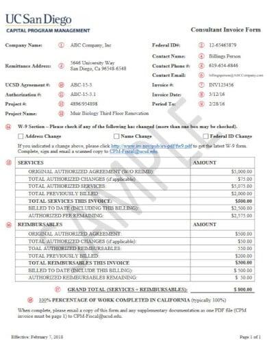 sample consultant invoice form
