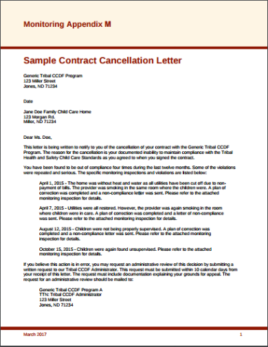sample contract cancellation letter template