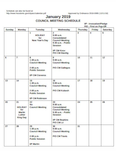 sample council meeting schedule template