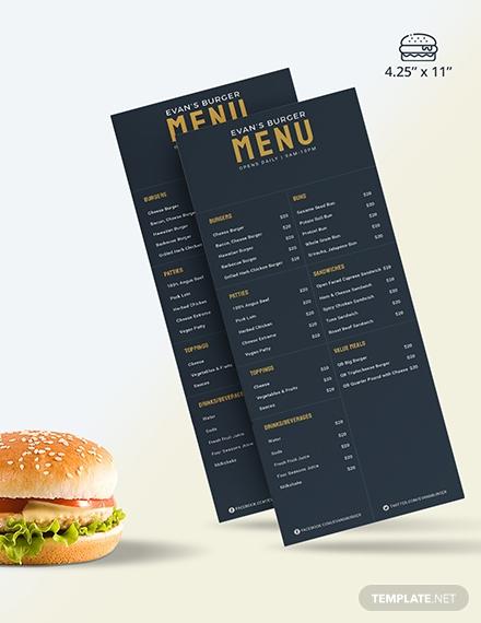 sample downloadable burger menu