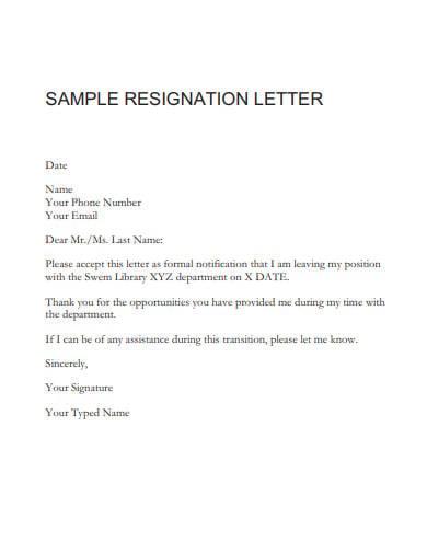 sample employee resignation letter1