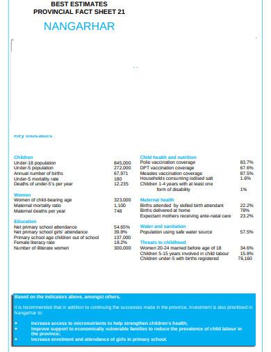 sample estimate fact sheet example