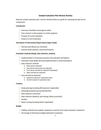 sample evaluation plan checklist template