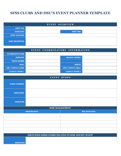 sample event planner template