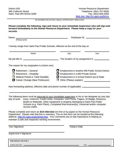 sample immediate resignation letter
