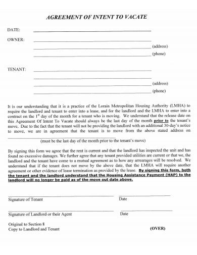 sample intent agreement for template